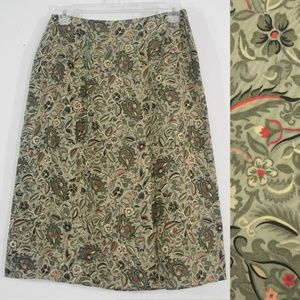 Charter Club Petite Silk Floral Sage Green Skirt